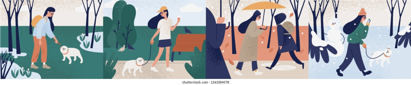 Bundle of girl walking alone or with her dog during different seasons. Set of young woman performing outdoor activities at spring, summer, autumn, winter. Colorful vector illustration in flat style.