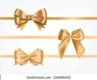 Bundle of golden satin ribbons decorated with bows.Collection of fancy decorative design elements. Set of festive gift decorations isolated on white background. Colorful realistic vector illustration.