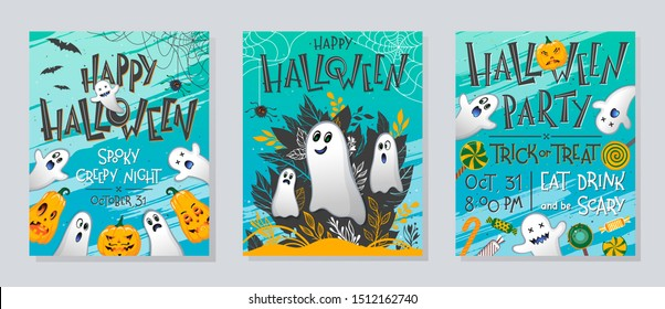 Bundle of Halloween posters with pumpkins,ghosts,sweets,bats and spider web.Halloween design perfect for prints,flyers,banners invitations,greetings.Vector Halloween illustrations.