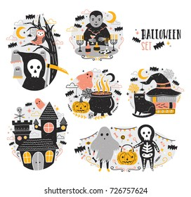 Bundle of Halloween scenes with funny and spooky cartoon characters - vampire, ghost, skeleton, grim reaper, pumpkin lantern, bats. Creepy and frightening fairytale. Festive vector illustration.