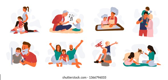 Bundle of happy loving family scenes. Good parenting and nurturing. Care, trust and support between parents and children. Mother and father educating and teaching their kid. Flat vector illustration