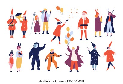 Bundle of happy men and women dressed in different festive costumes for holiday masquerade, holiday carnival, Christmas party isolated on white background. Vector illustration in flat cartoon style.