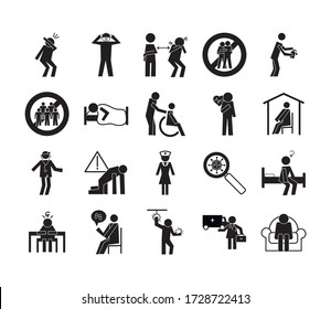 bundle of health pictograms set icons vector illustration design