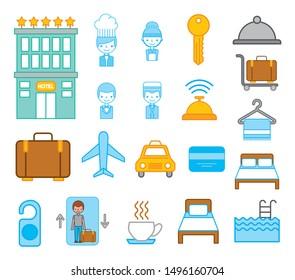 bundle of hotel service icons vector illustration design