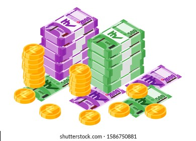 Bundle of Indian Rupee INR banknotes money and gold coin vector isometric design. India currency, business, finance and Payment element. Can be used for web, mobile, infographic, and print.