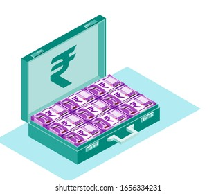 Bundle of Indian Rupee Money inside opened case box vector icon logo illustration and design. India currency, business, payment and finance element. Can be used for web, mobile, infographic & print