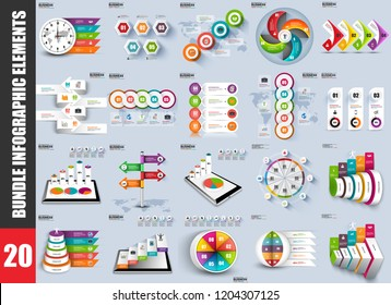 Bundle infographic elements data visualization vector design template. Can be used for steps, options, business processes, workflow, diagram, flowchart concept, timeline, marketing, info graphics.