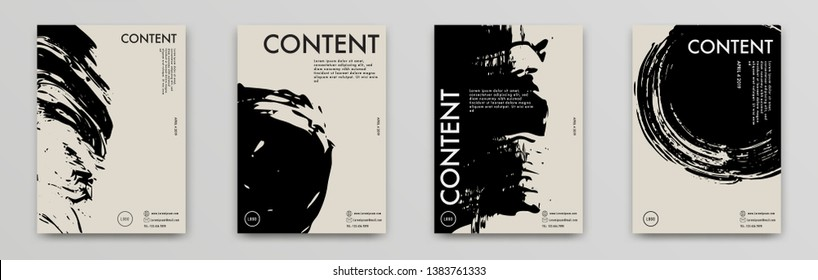 Bundle of ink style poster design. Also they can use in term of banner, flyer, folder, poster, cover, book, magazine. Texture and template design - Vector