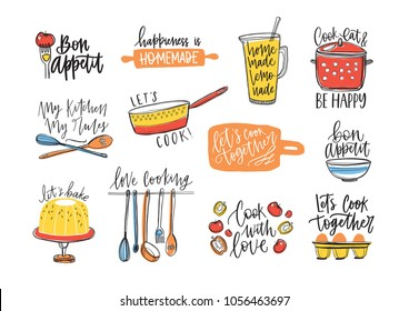 Bundle of inscriptions handwritten with cursive calligraphic font and decorated with kitchen utensils and food. Set of elegant lettering and tools for cooking or food preparation. Vector illustration.