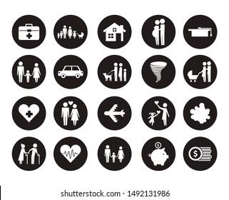 bundle of insurance company icons vector illustration design