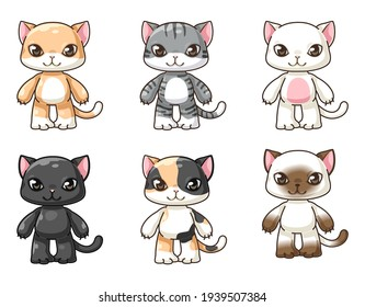 bundle of isolated cute cat cartoon characters collection, isolated cute funny kitten background poster in kids concept, flat Colorful vector illustration