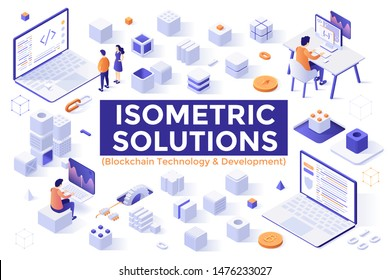 Bundle of isometric design elements or objects isolated on white background - blockchain technology, decentralized system of blocks, modules or units, computer algorithm. Modern vector illustration.