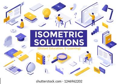 Bundle of isometric symbols isolated on white background - distant education, e-learning, internet courses, webinars, study programs, obtaining university degree online. Modern vector illustration.