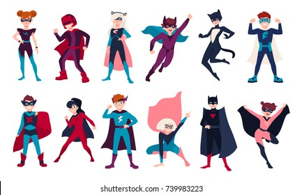 Bundle of kids superheroes. Bundle of boys and girls with super powers. Set of children cartoon or comic characters wearing tight-fitting costumes and capes. Colorful flat vector illustration.