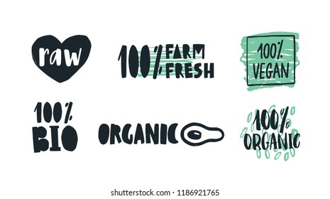 Bundle of labels with handwritten lettering for raw, farm, organic and vegan products, wholesome vegetarian food. Set of tags isolated on white background. Colored hand drawn vector illustration.