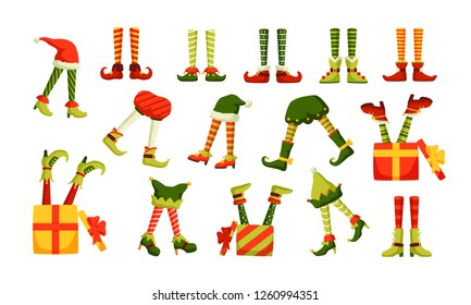 Bundle of legs of Christmas elves sticking out of hats and gift boxes isolated on white background. Set of funny holiday design elements. Colorful festive vector illustration in flat cartoon style.
