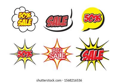 bundle lettering offer style pop art vector illustration design