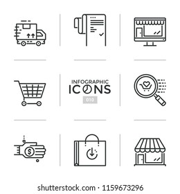 Bundle of linear icons, symbols or pictograms - shopping, delivery, retail, merchandising, customer service, online and offline purchases. Creative vector illustration for presentation, website.
