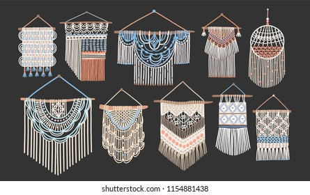 Bundle of macrame wall hangings isolated on black background. Set of handcrafted house decorations in Scandinavian style made of interwoven cord. Flat cartoon colored hand drawn vector illustration