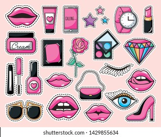 bundle of make up icons pop art style
