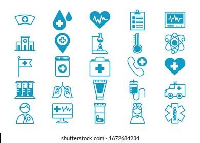 bundle of medical set icons vector illustration design