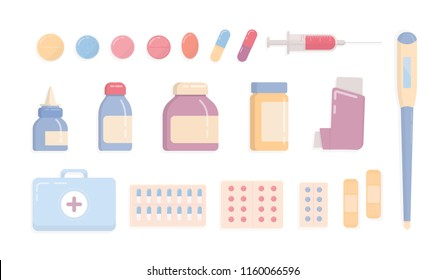 Bundle of medical tools and medicines isolated on white background - first aid kit, inhaler, pills in blisters, syringe, thermometer, patches, nasal spray. Flat cartoon colorful vector illustration.
