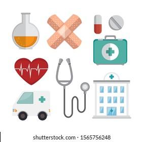 bundle medicine with set icons vector illustration design