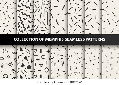 Bundle of memphis seamless geometric patterns. Fashion 80-90s. You can find seamless backgrounds in swatches panel.