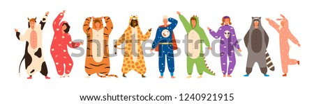 Bundle of men and women dressed in onesies representing various animals and characters. Set of people wearing jumpsuits or kigurumi isolated on white background. Flat cartoon vector illustration.