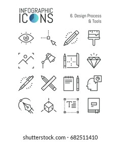 Bundle of minimal thin line icons, design process and tools: techniques and software for graphic, web and digital designer, 3d modeling. Vector illustration for website, presentation, application.