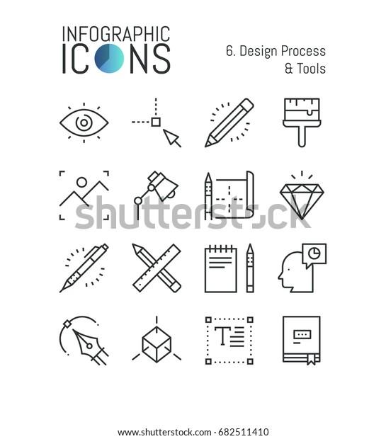 Bundle Minimal Thin Line Icons Design Stock Vector Royalty Free 682511410