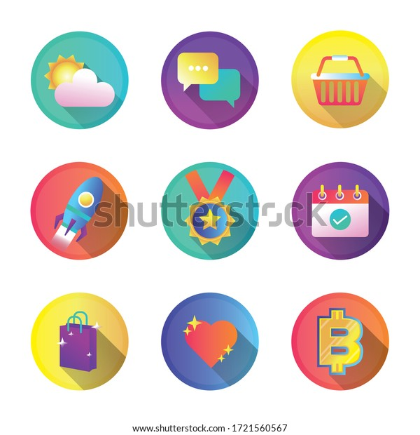 bundle of miscellaneous set icons vector illustration design