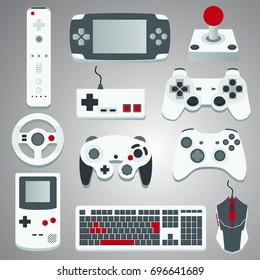 Bundle of modern gaming devices. Vector illustration for website, advertisement, banner...