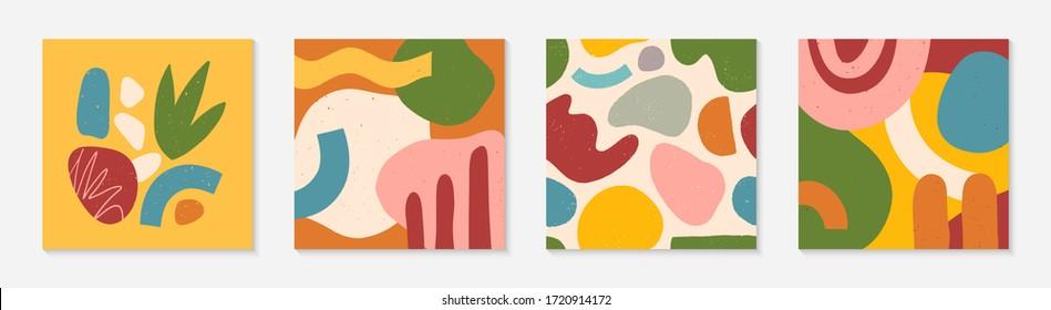 Conjunto de modernos collages vectoriales con formas orgánicas dibujadas a mano, texturas y elementos gráficos.Diseño contemporáneo moderno perfecto para impresiones, medios sociales, banners, invitaciones, diseño de marca, portadas