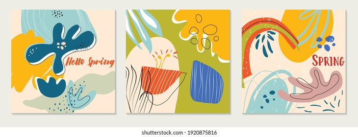 Bundle of modern vector collages with hand drawn organic shapes,textures and graphic elements. Trendy spring card. Design perfect for prints,social media,banners,invitations,branding design,covers.