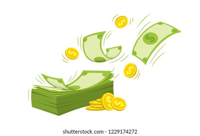 A bundle of money and coins in a flat style on a white background, dollars in a big bundle, a money sign.