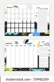 collection month weekly planner templates week stock vector royalty