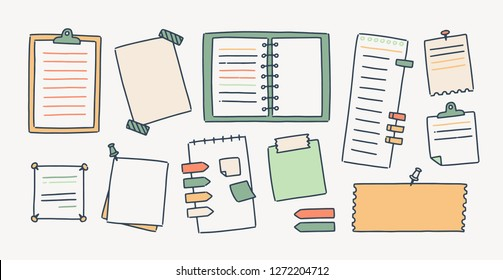 Bundle of notepads and paper sheets attached with pushpins and adhesive tape for making writing notes isolated on white background. Collection of decorative design elements. Vector illustration.