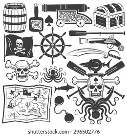 Bundle objects for design pirate logo, emblem with a skull, an anchor, shark, octopus, oars. Jolly Roger.