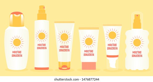 Bundle of packages, jars for protection from the sun. Ultraviolet solar radiation. Moisture sunscreen. Editable vector illustration