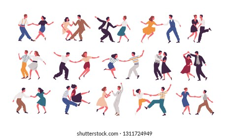 Bundle of pairs of dancers isolated on white background. Set of men and women dancing Lindy hop or Swing. Male and female cartoon characters performing dance at school or party. Vector illustration.