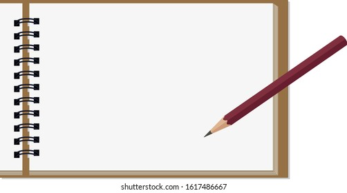 A bundle of paper for sketching like a book pencil