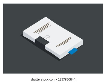 bundle of paper/assignment simple illustration