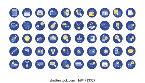 bundle of payment on block and flat set icons vector illustration design