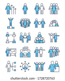 bundle of people avatars line and fill style vector illustration design