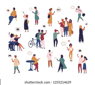 Bundle of people checking social media, taking selfie, trying to catch wifi signal with smartphone. Collection of men and women surfing internet on mobile phone. Flat cartoon vector illustration.