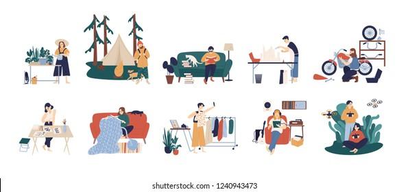 Bundle of people enjoying their hobbies - home gardening, papercraft, bushcraft, books reading, motorcycle customization, calligraphy, fashion blogging, knitting. Flat cartoon vector illustration.