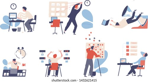 Bundle of people unable to organize their tasks and failing to fit them in schedule. Set of scenes with inefficient and ineffective time management and multitasking. Flat cartoon vector illustration