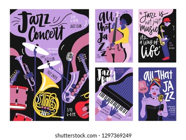 Bundle of poster, invitation and flyer templates for jazz music festival, concert, party with musical instruments, musicians and singers. Vector illustration in modern trendy hand drawn cartoon style.