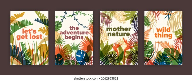 Bundle of poster templates with colorful translucent leaves of tropical jungle plants and inspiring slogans. Set of flyers with bright colored foliage of exotic palm trees. Modern vector illustration.